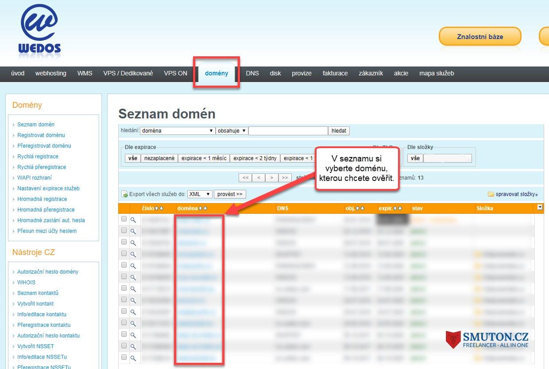 Výběr domény u hostingové služby Wedos