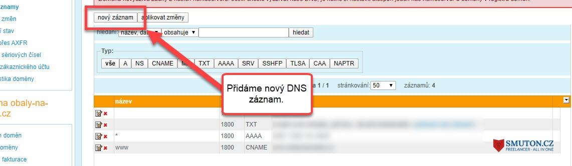 Přidání DNS záznamů u Wedos