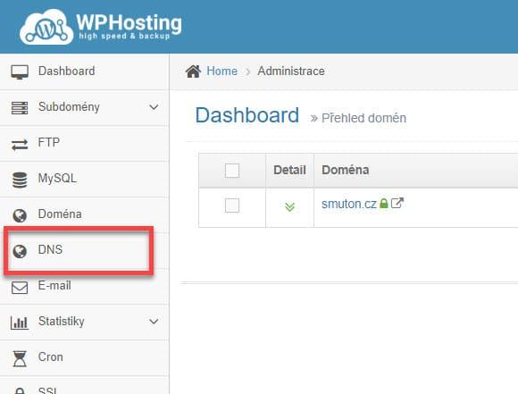 Přechod do editací DNS u WP-hosting