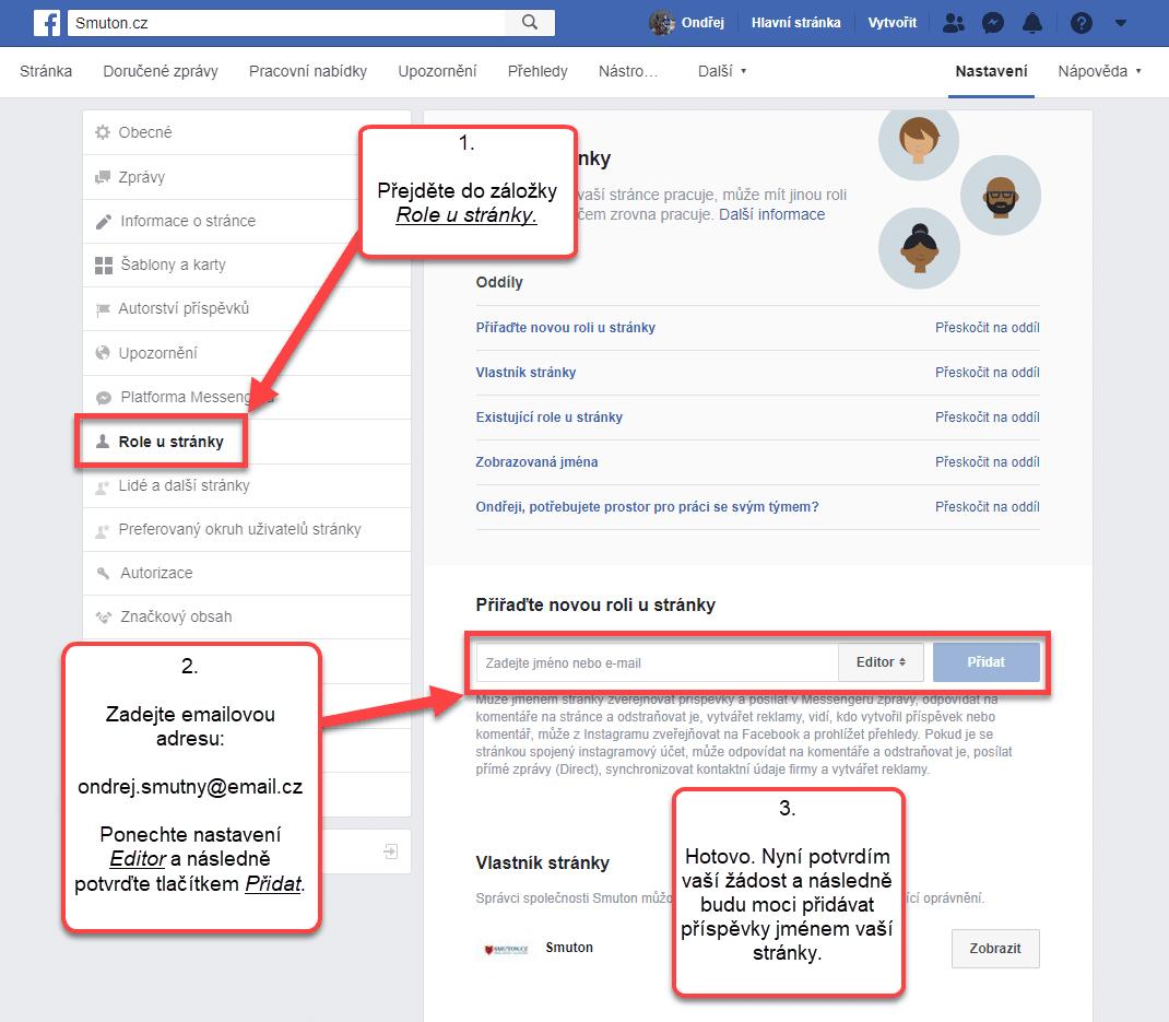 Přechod do nastavení role u stránky na Facebooku