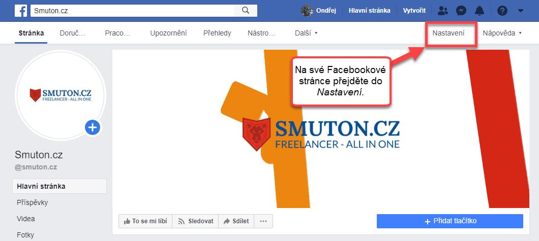 Nastavení Facebookové stránky