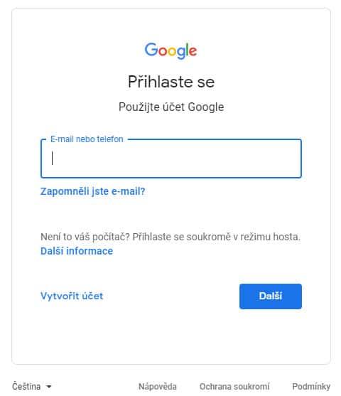 Přihlášení do Google Search Console