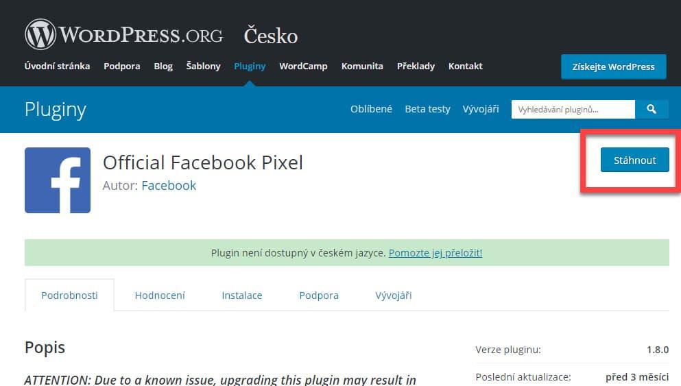 Stáhnuté pluginu ve WordPress
