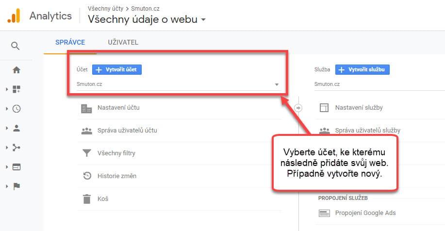 Vytvoření nového účtu v Google Analytics