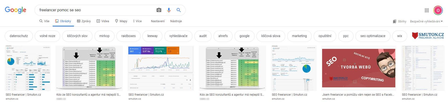 Vyhledávač Google - záložka obrázky