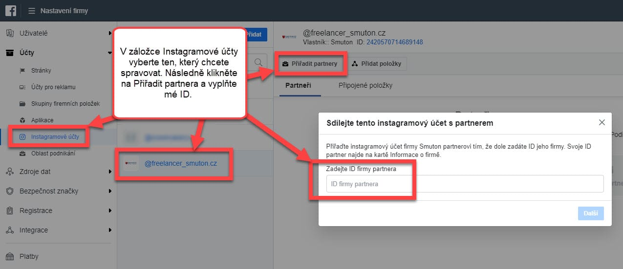 Přiřazení partnera k Instagramovému účtu v Business Manageru