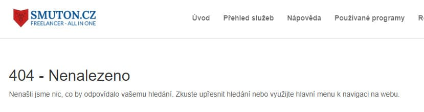 URL nebyla nalezena - kód 404