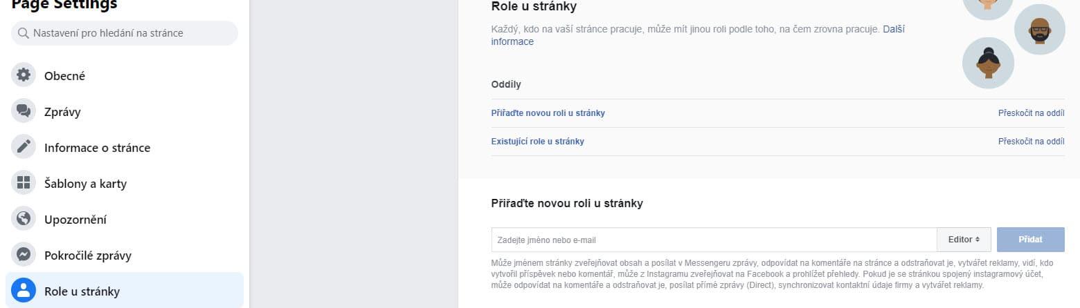 Přidání role u Facebook stránky | Smuton.cz