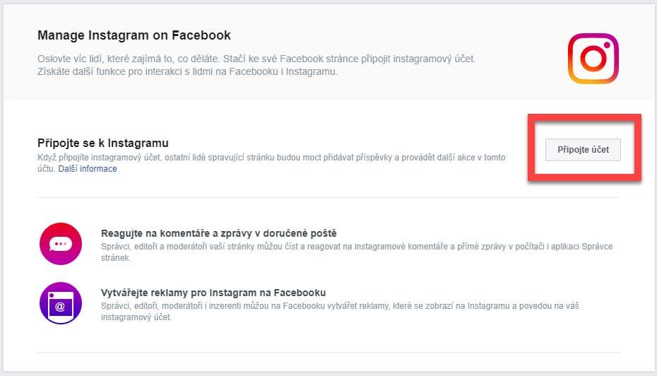 Propojení s Instagram profilem