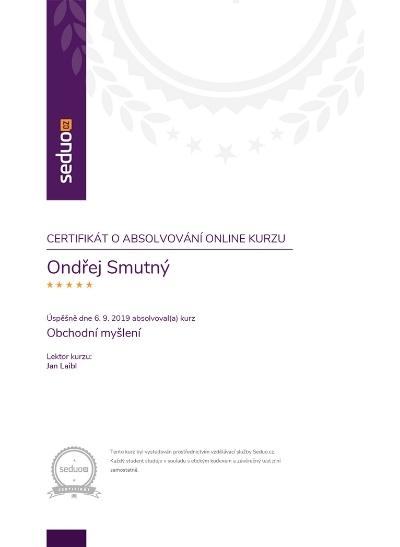 Certifikát obchodní myšlení