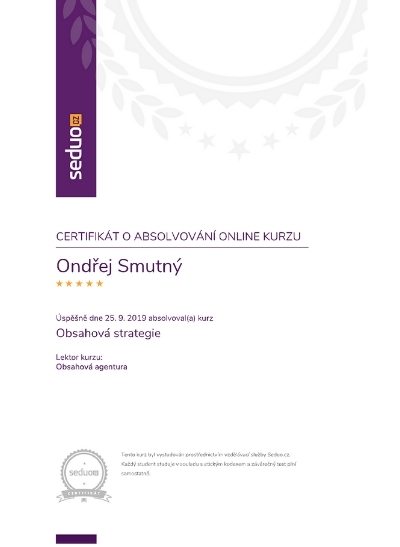 Certifikát kurzu Obsahová strategie