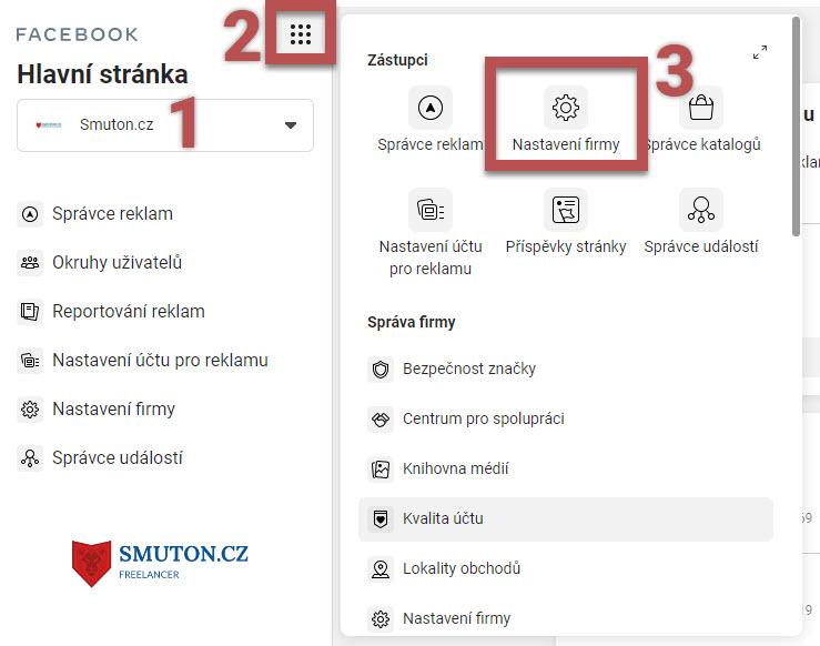 FB Business manager - přechod do Nastavení firmy | Smuton.cz