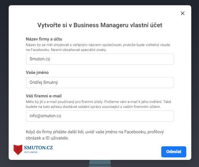 Formulář pro založení Facebook Business Managera