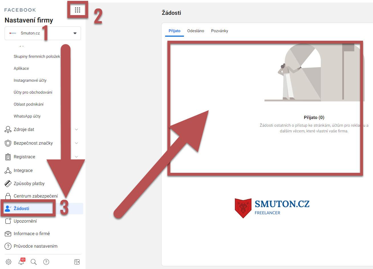 Kde najít žádosti od Smuton.cz v Business Manageru