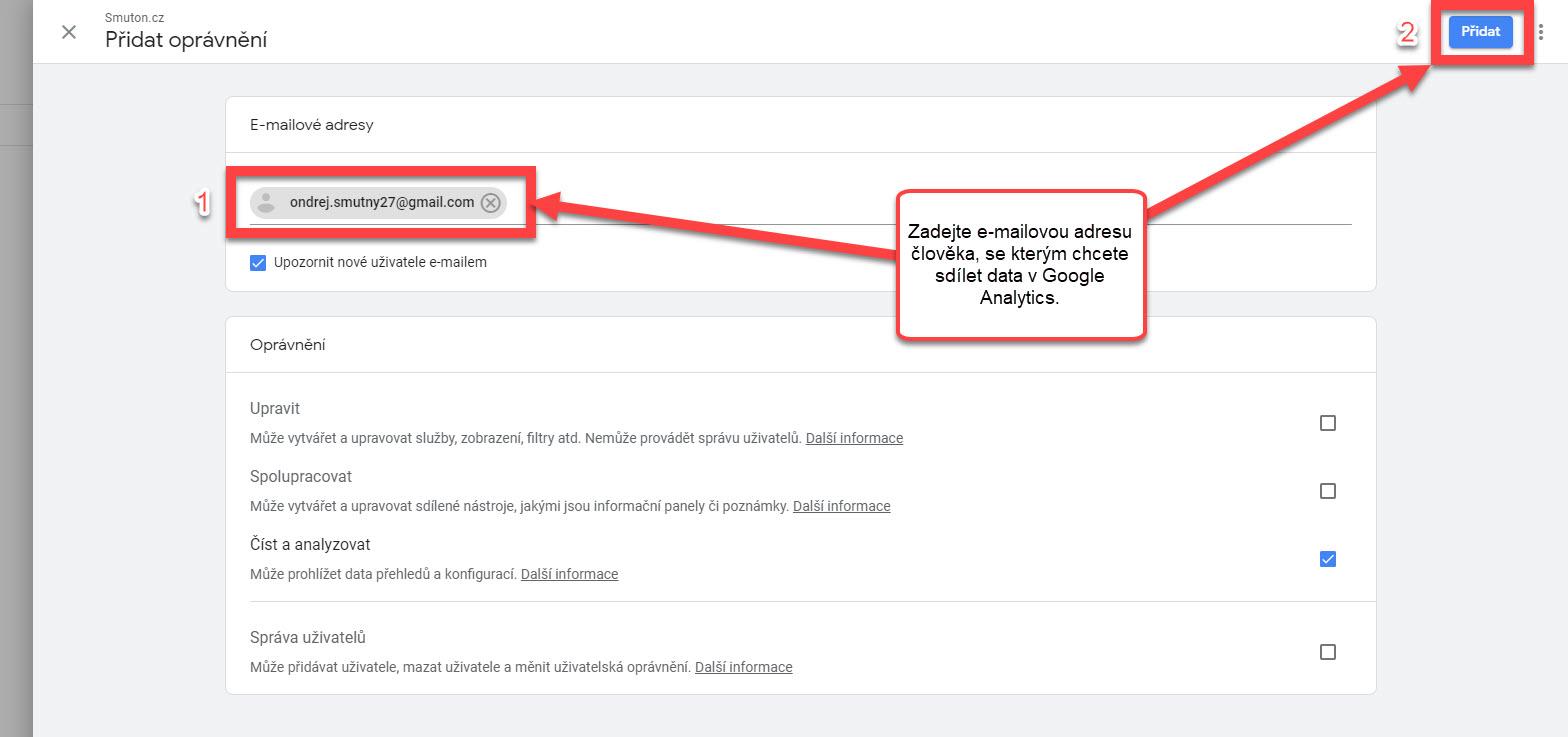 Přidání emailu nového uživatele v Google Analytics | Smuton.cz