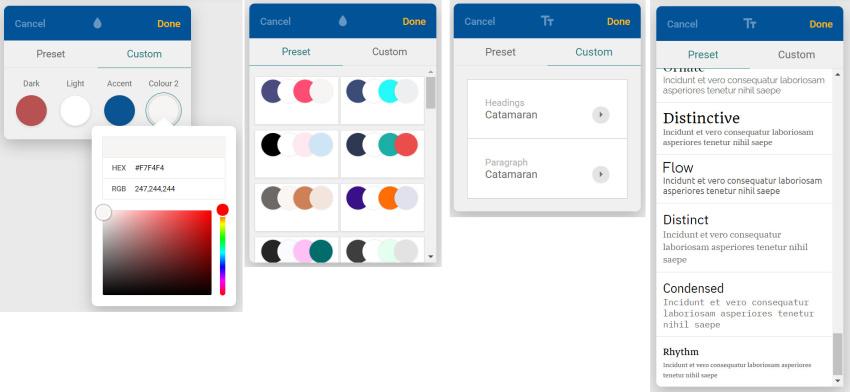 Nastavení barev a fontu