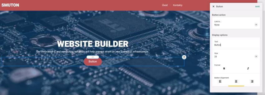 Úprava tlačítka ve web builderu