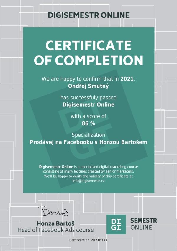 Certifikát - reklamy na Facebooku od Digisemestr