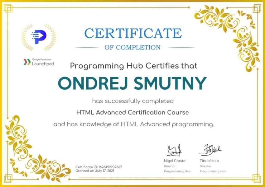Certifikát pokročilé HTML