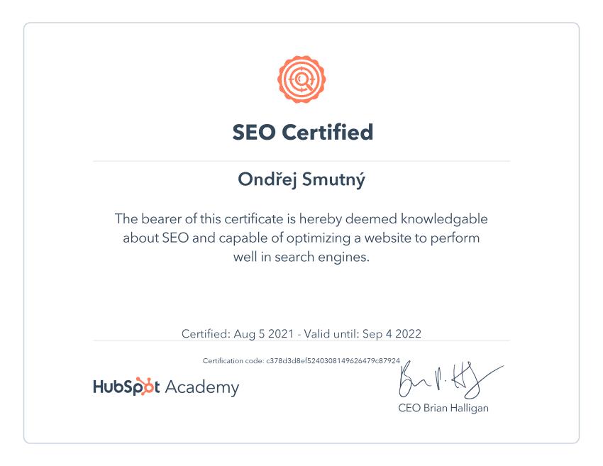 Certifikat od Hubspot Academy - zaměření na SEO