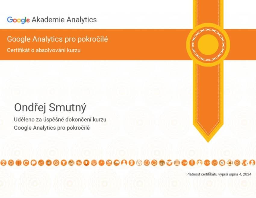certifikát pokročilé Google Analytics | Smuton.cz