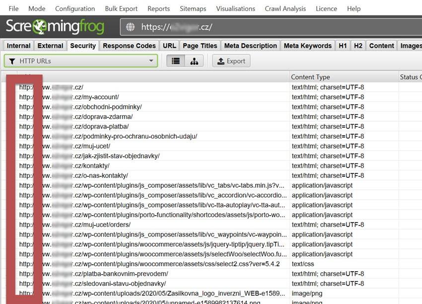 URL s nezabezpečeným protokolem HTTP