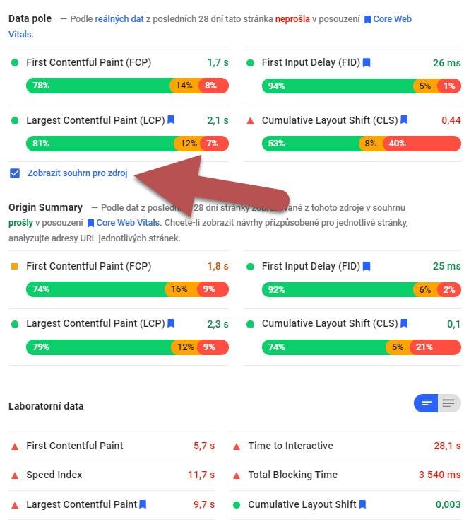 Tři různé výsledky z PageSpeed Insights